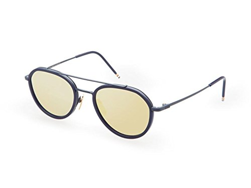Sunglasses THOM BROWNE Matte NavyNavy w/Dark Brown-Gold Mirror-AR
