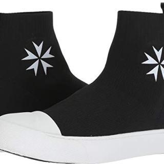 Neil Barrett Men's Military Star Techknit Sock Sneaker Black/White