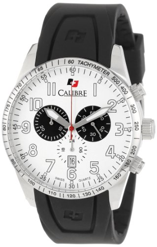Calibre Men's Recruit Stainless Steel Black Rubber Band