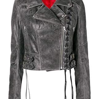 MCQ by Alexander McQueen Women's Grey Leather Outerwear Jacket