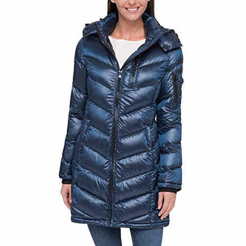 Andrew Marc Womens Packable Down Fill Long Jacket