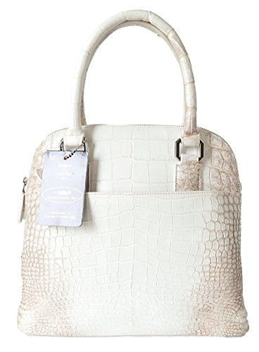 Authentic M Crocodile Skin Womens Belly Leather Zipper Bag