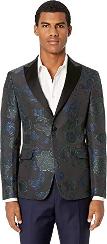 Versace Collection Men's Brocade Tuxedo Jacket Blue Navy/Grey/Green 50