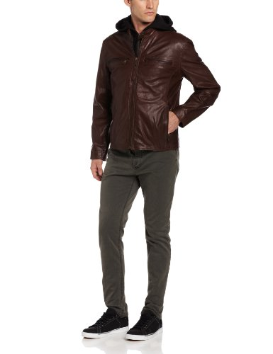 Marc New York by Andrew Marc Men's Varick Leather Jacket, Driftwood, X-Large