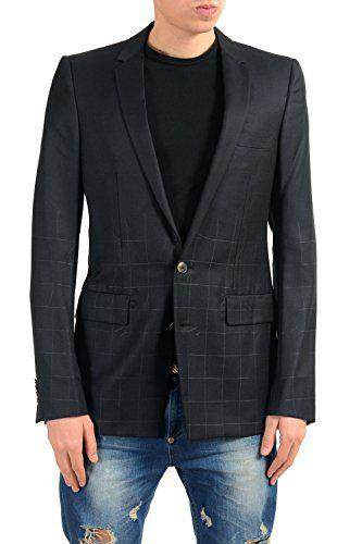 Versace Men's Silk Wool Black Two Button Blazer Sport Coat