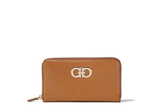 Salvatore Ferragamo Womens Gancini Zip Around Leather Wallet