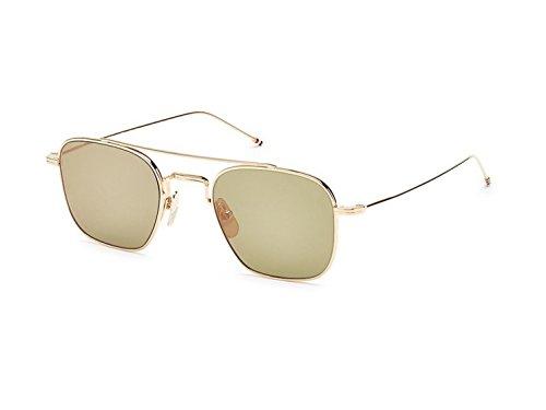 Sunglasses THOM BROWNE White Gold w/ G15-Gold Mirror-AR