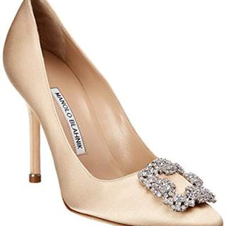 Manolo Blahnik Hangisi Satin Pump, 37, Brown