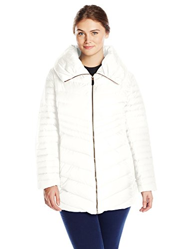 Marc New York by Andrew Marc Women's Plus-Size Kirby Chevron Down Coat, Snow, 2X