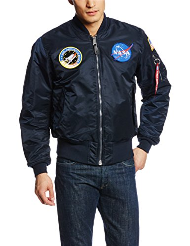 Alpha Industries Men's NASA MA-1 Bomber Flight Jacket, Replica Blue, Small