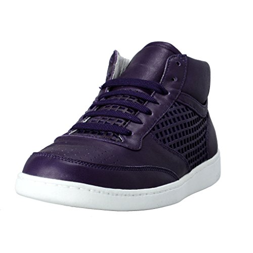 Dolce & Gabbana Men's Purple Leather Fashion Sneakers Shoes