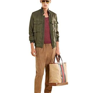Gucci Bomber Military Olive Green Silk Jacket (G 48 / US 38)