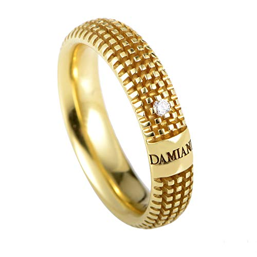 Damiani Metropolitan 18K Yellow Gold Diamond Textured Band Ring