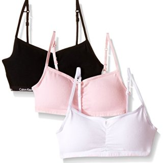Calvin Klein Big Girls 3 Pack Removable Pad Rouched Bra