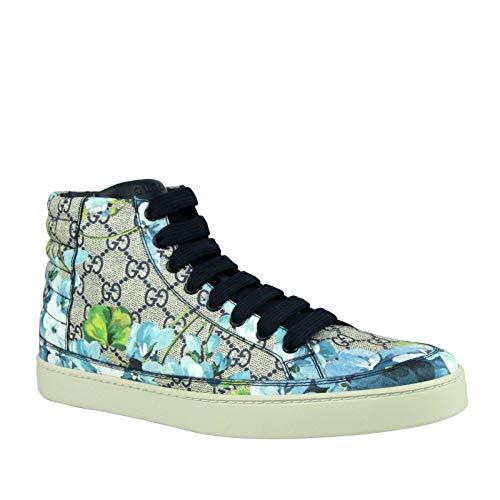 Gucci Men's Bloom Print Supreme GG Blue Canvas Hi Top Sneaker