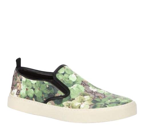Gucci Bloom Flower Print Supreme GG Green Canvas Slip Sneakers