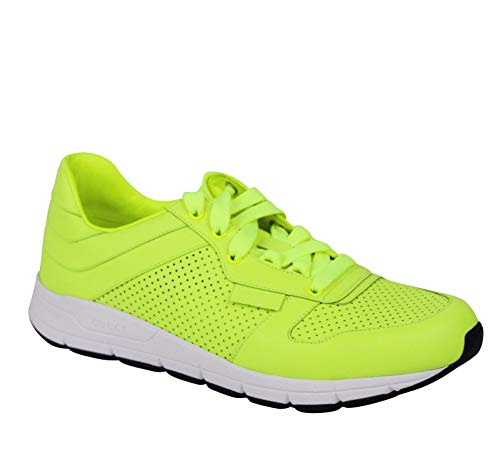 Gucci Lace up Neon Yellow Leather Running Sneakers