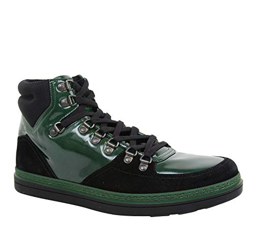 Gucci Contrast Combo High top Dark Green Suede Leather Sneaker