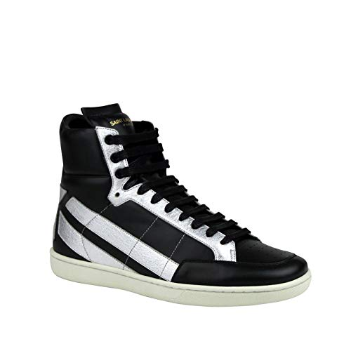 YSL Saint Laurent Hi Top Black/Silver Leather Sneakers