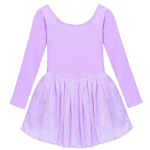 Arshiner Girls' Classic Long Sleeve Sequins Tutu Dress Leotard