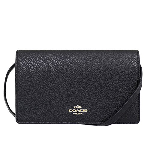 Coach Foldover Clutch Wallet Pebbled Leather Crossbody Bag