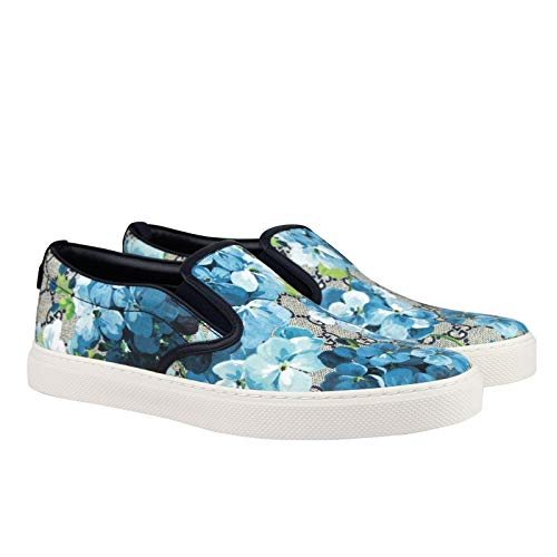 Gucci Bloom Flower Print Blue GG Supreme Coated Canvas Slip Sneakers