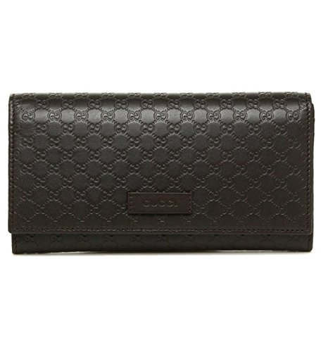 Gucci Women's Leather Micro GG Continental Bifold Wallet