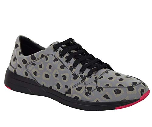 Gucci Reflex Leopard Print Gray Fabric Running Sneakers
