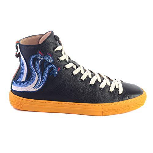 5e22ab68 Gucci Men's Leather High Top Embroidered Dragon Sneaker Black Shoes
