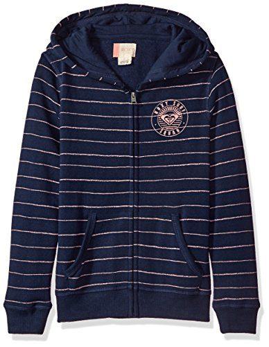 Roxy Girls' Big Lucid Dream Hoodie, Dress Blue Pencil Stripe RG