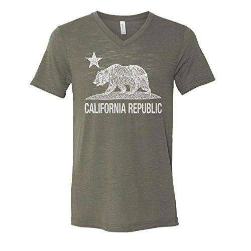 California Republic Mens V-Neck T-Shirt Cali Bear Star