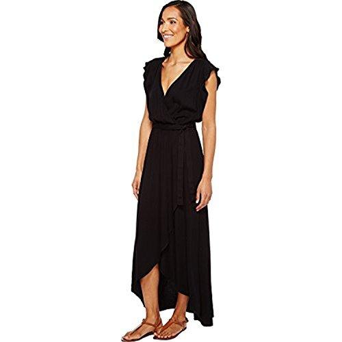 Splendid Women's Solid Ruffle Wrap Dress Black Dress