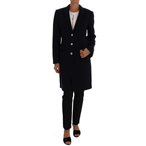 Dolce & Gabbana Dark Blue Wool Single Breasted Coat