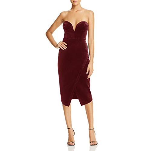 Yumi Kim Womens Velvet Asymmetric Cocktail Dress Red L
