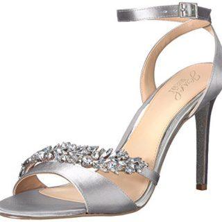 Badgley Mischka Jewel Women's Merida Heeled Sandal Silver Satin