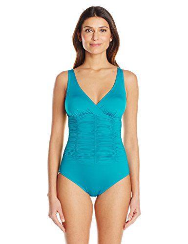Badgley Mischka Women's Smocked Mio One Piece Swimsuit