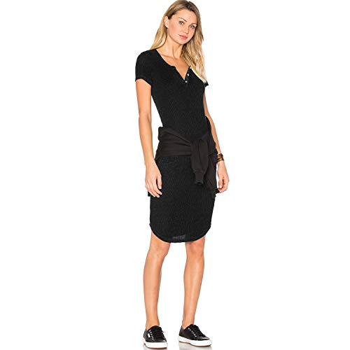 Monrow Womens Short Sleeve Rib Mini Dress Black Medium