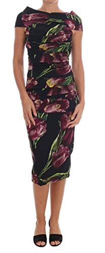 Dolce & Gabbana Black Silk Stretch Purple Tulip Sheath Dress