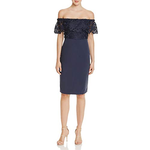 StyleStalker Womens Madeleine Lace Off The Shoulder Cocktail Dress