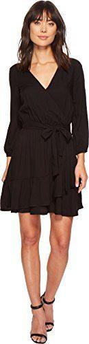 Splendid Women's Surplice Wrap Dress Black Medium