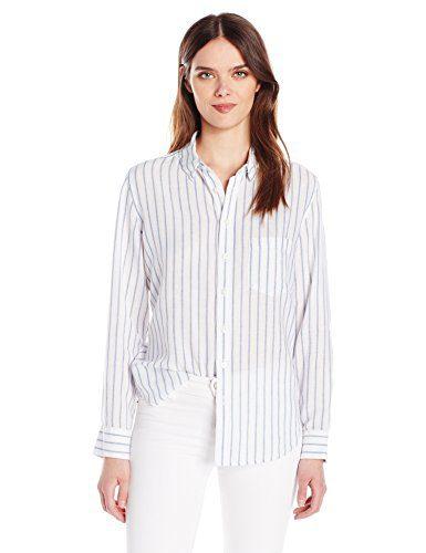 DL1961 Women's Shirt Shop Nassau & Manhattan in White/Blue Stripes, M
