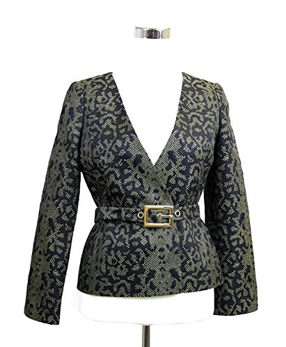 Gucci Women's Green Black Python Print Belt Jacket Runway Blazer 319227 1304 (38)