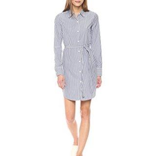 Theory Women's Clean Shirtdress, Blue/White M