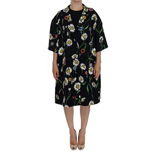 Dolce & Gabbana Black Brocade Crystal Daisy Trench Coat
