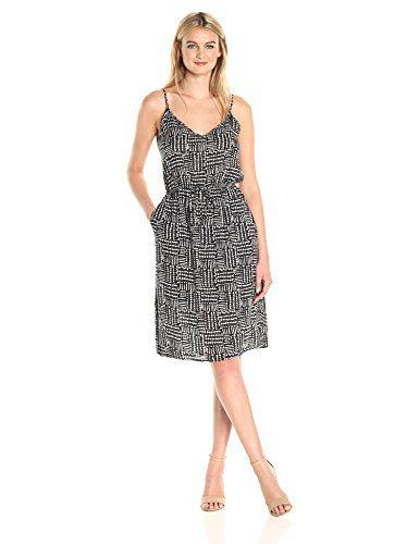 Splendid Women's Rainfall Batik Print Dress, Black, L