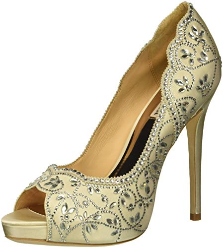 Badgley Mischka Women's Valentina Pump, Ivory Satin