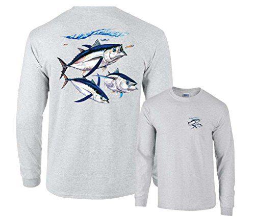 Fair Game Albacore Tuna Fish Long Sleeve Shirt-Ash-2x