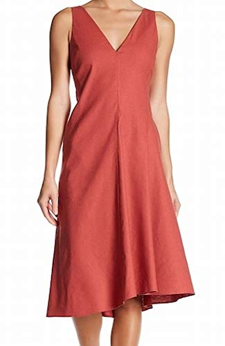 Theory Womens Tadayon Double V-Neck Tea-Length Casual Dress