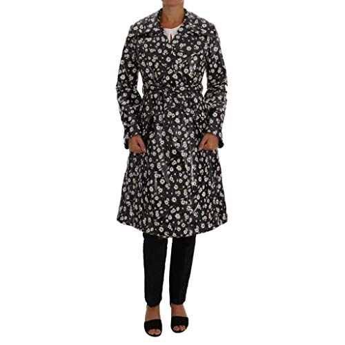 Dolce & Gabbana Black Floral Print Padded Raincoat