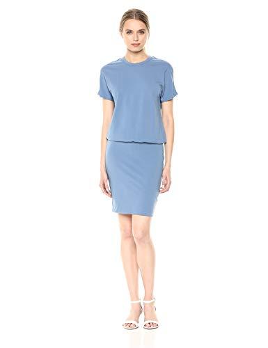 Monrow Women's Drop Shoulder Dress, Jean Blue Large